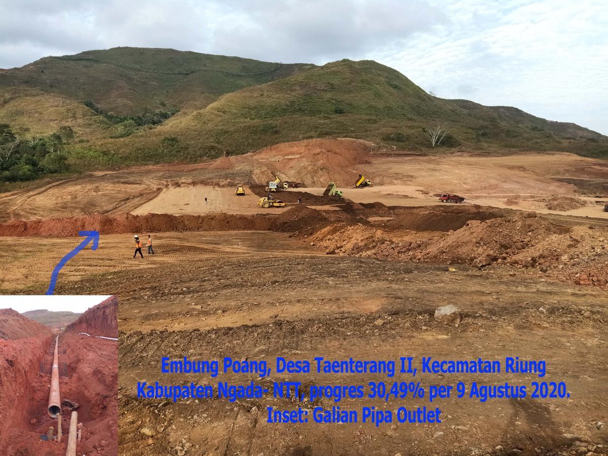 Pembangunan Embung Serba Guna Poang Ngada NTT Mencapai 30,49 Persen