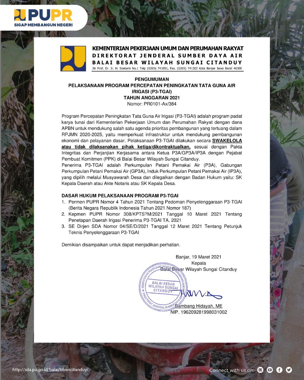 Pengumuman Pelaksanaan P3TGAI BBWS Citanduy T.A. 2021