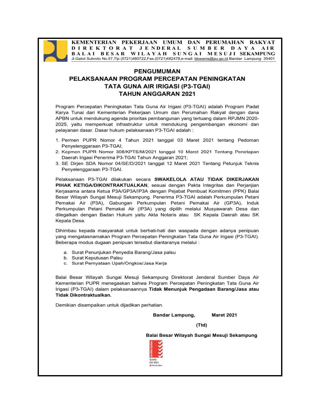 Pengumuman P3TGAI BBWS Mesuji Sekampung