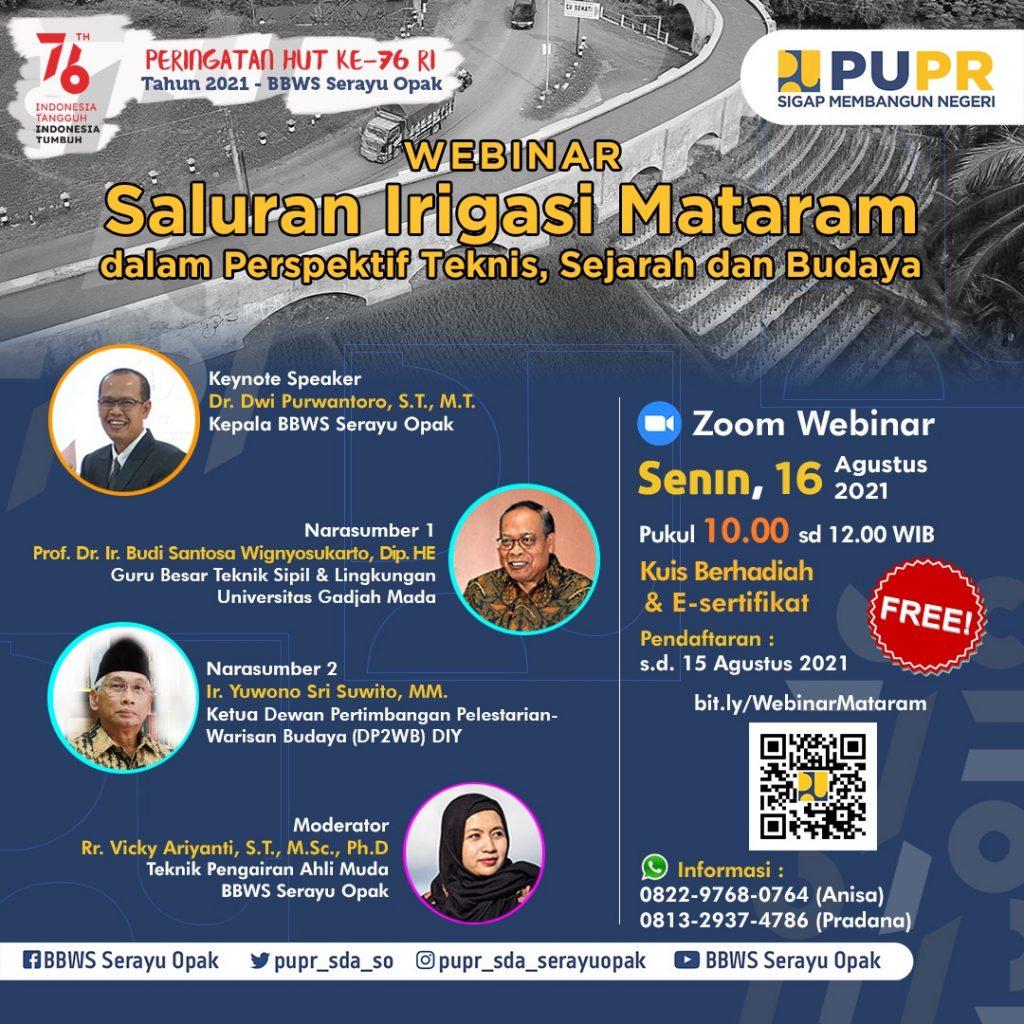 Webinar Saluran Irigasi Mataram dalam Perspektif Teknis, Sejarah, dan Budaya