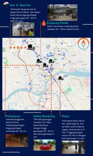 Infografis Lokasi Terparah Banjir Kota Palembang 2018