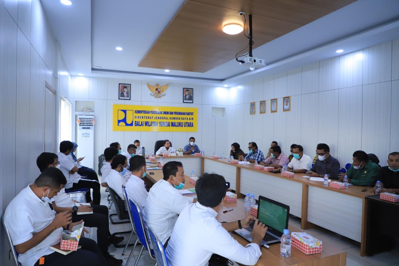 Rapat koordinasi antara Balai Wilayah Sungai (BWS) Maluku Utara (Malut) dengan DPRD Komisi III Tidore Kepulauan tentang Perencanaan Kegiatan BWS Malut di Tidore Kepulauan (Tikep) Tahun Anggaran 2021 dan 2022 s/d 2024
