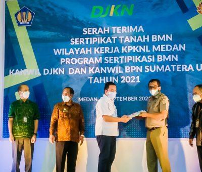 Serah Terima Sertipikat Tanah BMN Wilayah Kerja KPKNL Medan Program Sertipikasi BMN, Kanwil DJKN dan Kanwil BPN Sumatera Utara Tahun 2021