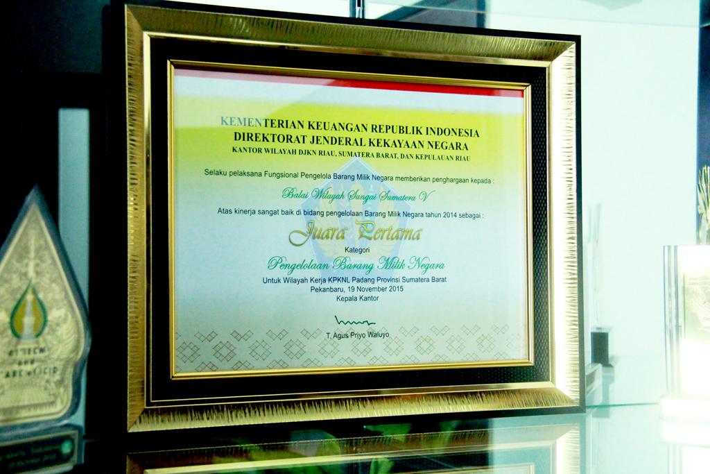 BWS Sumatera V Menerima Penghargaan DJKN Kemenkeu