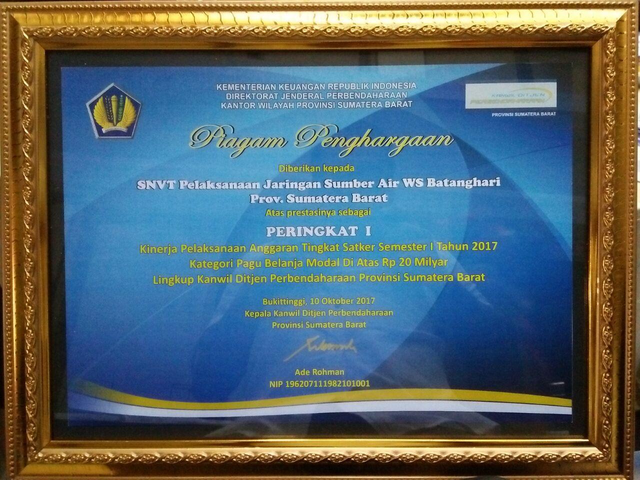 Satker SNVT PJSA WS. Batanghari Prov. Sumatera Barat Mendapat Peringkat Terbaik Dari Kanwil Ditjen Perbendaharaan Provinsi Sumatera Barat