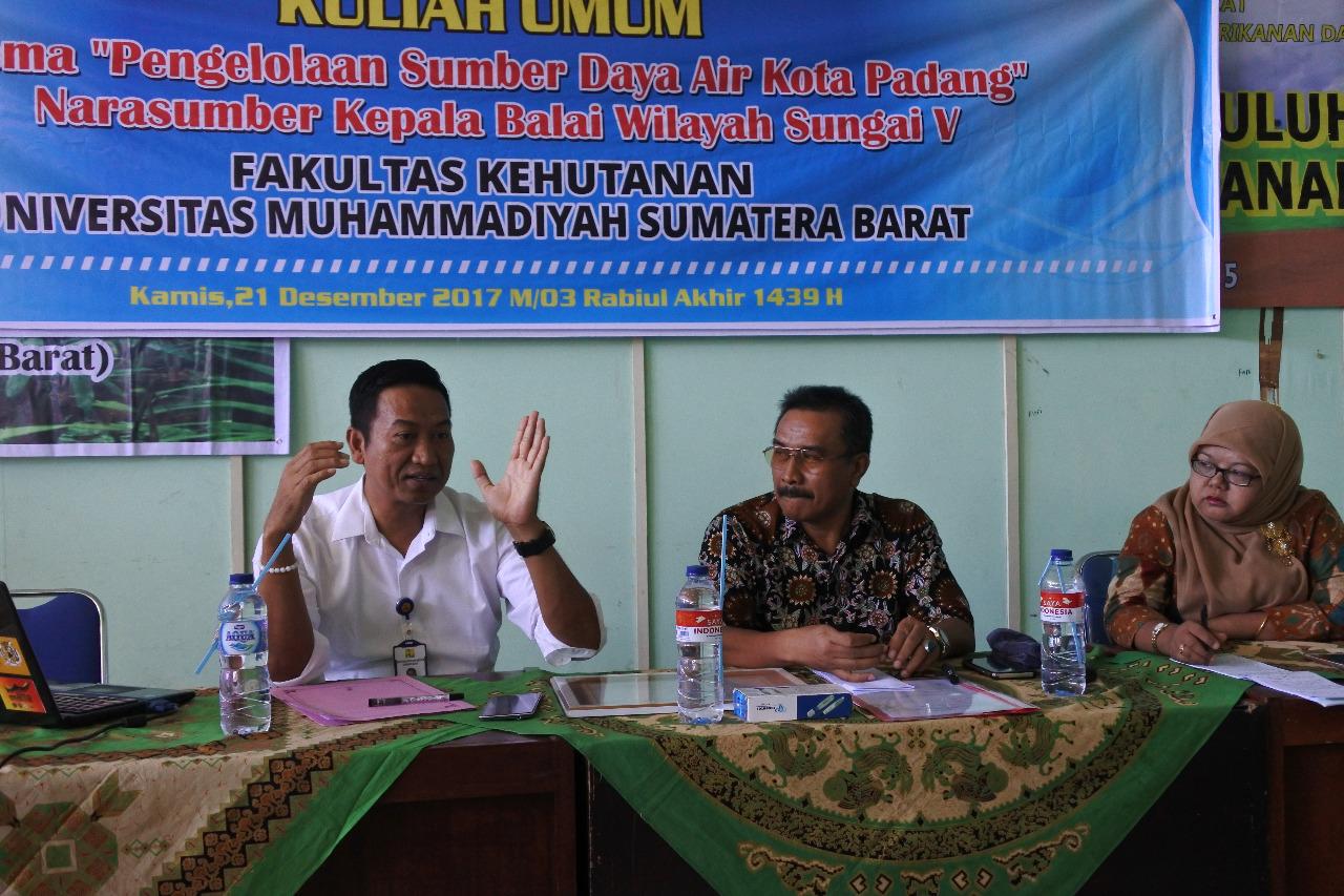 "Kuliah Umum ""Pengelolaan Sumber Daya Air"" oleh BWS Sumatera V di Universitas Muhammadyah Sumatera Barat"