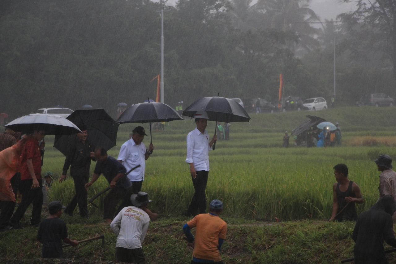 Giliran Tanah Datar, Presiden RI Tinjau Program Padat Karya Bersama Menteri PUPR