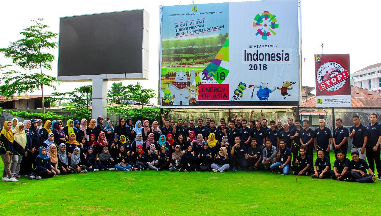 Dukung Asean Games 2018 Keluarga Besar BWS Sumatera V Senam Sehat