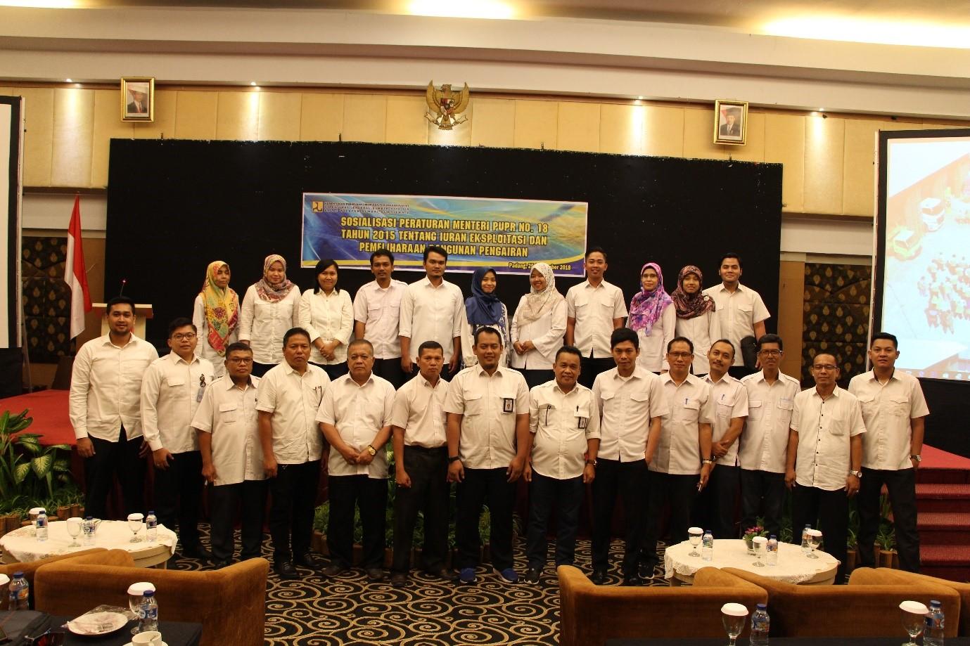 Sosialisasi PerMen PUPR No 18/PRT/M/2015 tentang Iuran Eksploitasi  dan Pemeliharaan  Bangunan Perairan di BWS Sumatera V