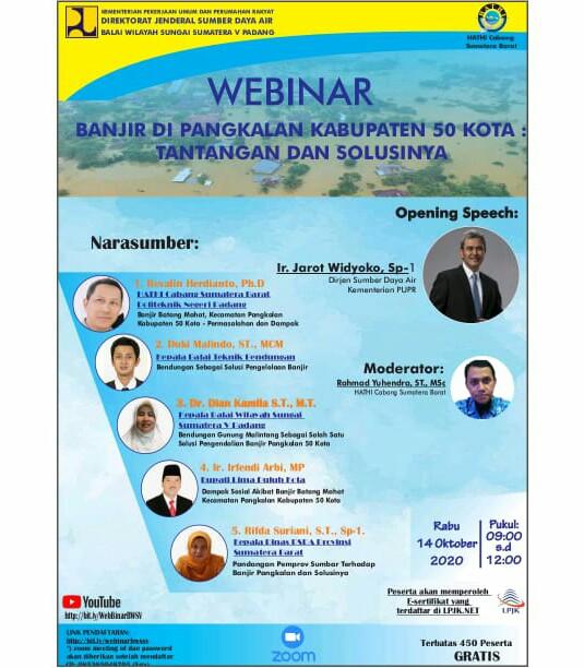 Gelar Webinar BWS Sumatera V Padang bersama HATHI Cabang Sumatera Barat Panen Dukungan
