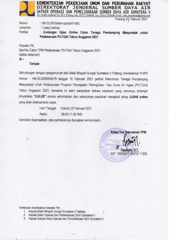 Pengumuman Ujian TPM P3-TGAI 2021
