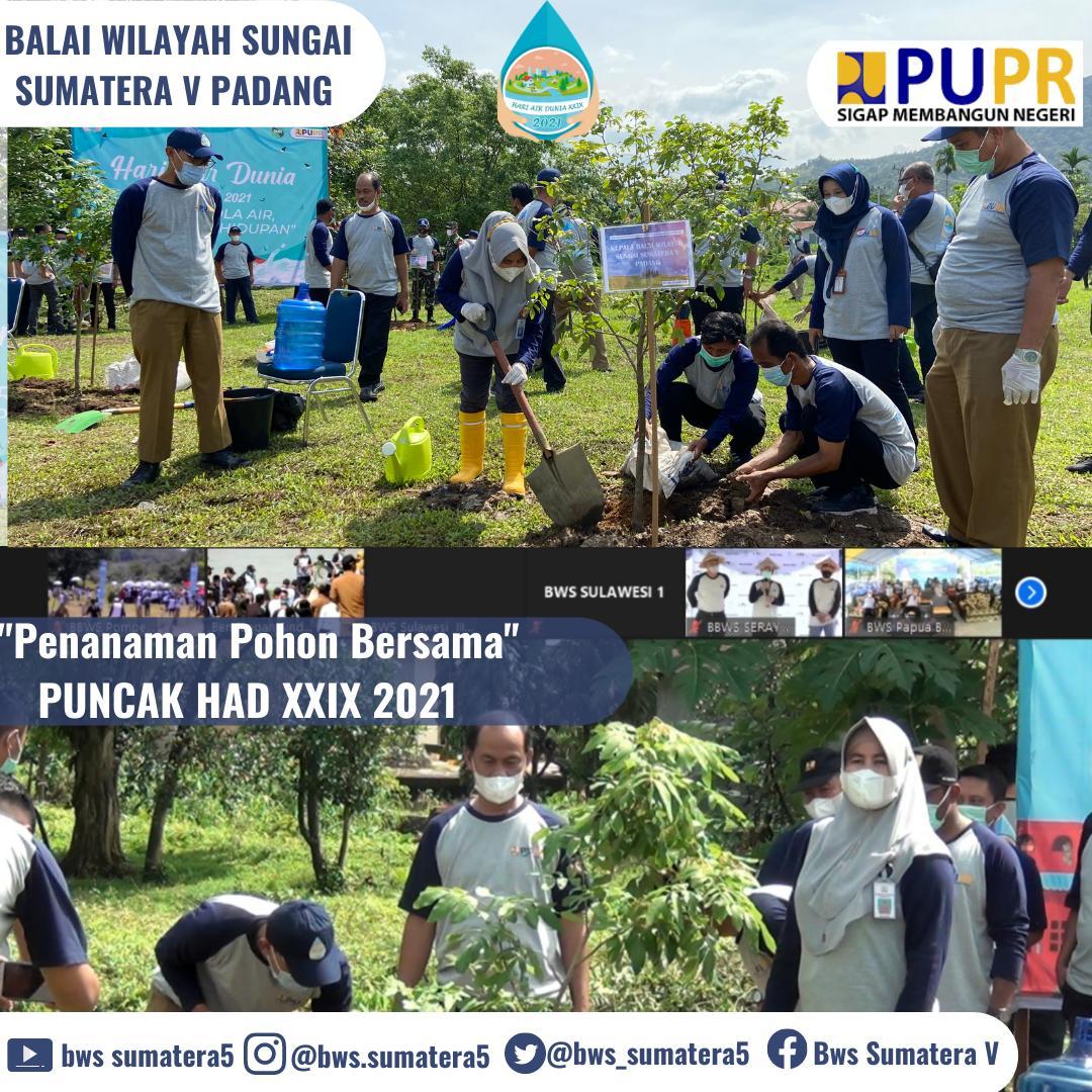 Puncak HAD Ke XXIX BWS Sumatera V Padang lakukan Penanaman Pohon
